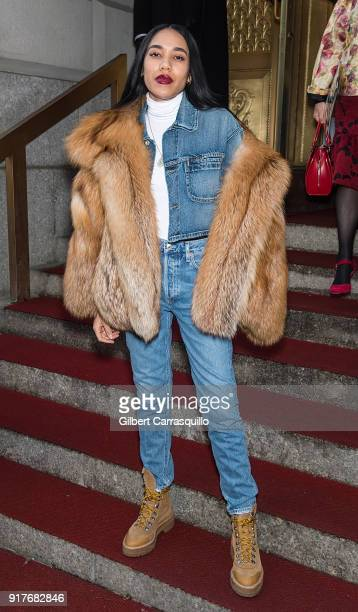 Aleali May is seen arriving to the Oscar de la Renta fashion show during New York Fashion Week at The Cunard Building on February 12 2018 in New York...