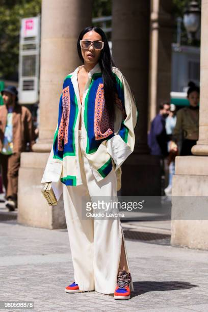 Aleali May is seen in the streets of Paris before the Louis Vuitton show during Paris Men's Fashion Week Spring/Summer 2019 on June 21 2018 in Paris...