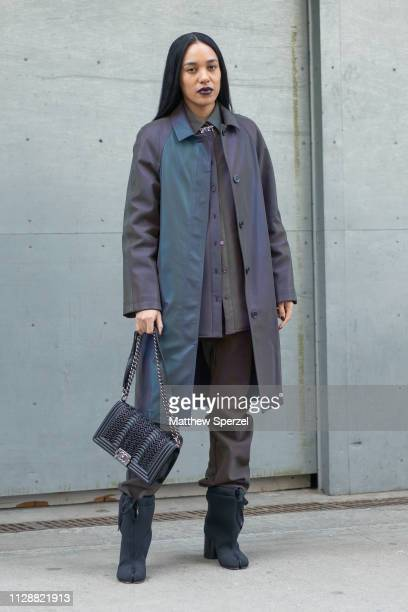 Aleali May is seen on the street during New York Fashion Week AW19 wearing Sies Marjan on February 10 2019 in New York City