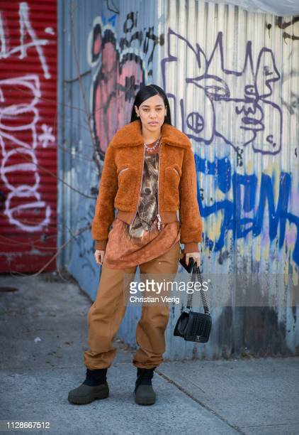 Aleali May is seen outside Eckhaus Latta during New York Fashion Week Autumn Winter 2019 on February 09 2019 in New York City