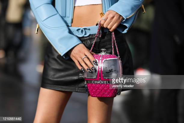 Aleali May is seen outside the Chanel show during Paris Fashion week Womenswear Fall/Winter 2020/2021 Day Eight on March 02, 2020 in Paris, France.