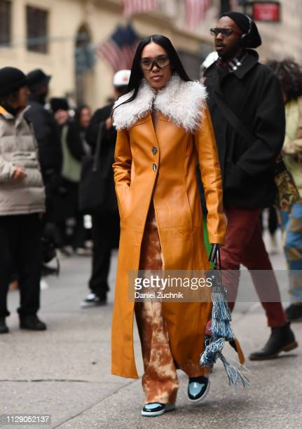 Aleali May is seen wearing a Phillip Lim coat outside the 31 Phillip Lim show during New York Fashion Week Fall/Winter 2019 on February 11 2019 in...