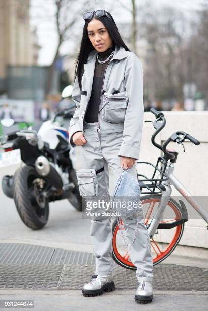 Aleali May poses after the Chanel Show at the Grand Palais during Paris Fashion Week Womenswear FW 18/19 on March 6 2018 in Paris France