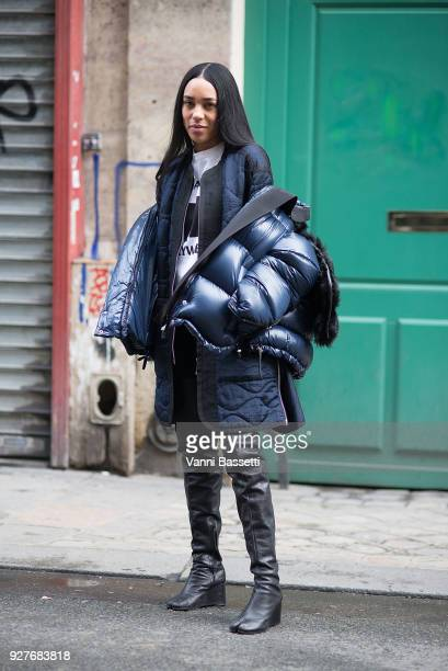 Aleali May poses wearing Sacai after the Sacai show during Paris Fashion Week Womenswear FW 18/19 on March 5 2018 in Paris France