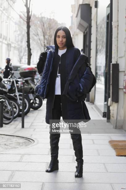 Aleali May seen during Paris Fashion Week Womenswear Fall/Winter 2018/2019 on March 5 2018 in Paris France
