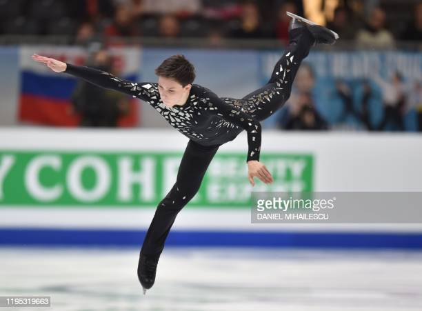 Aleander Lebedev of Belarus performs in the men's short programme event of the ISU European Figure Skating Championships at the Steiermark hall in...