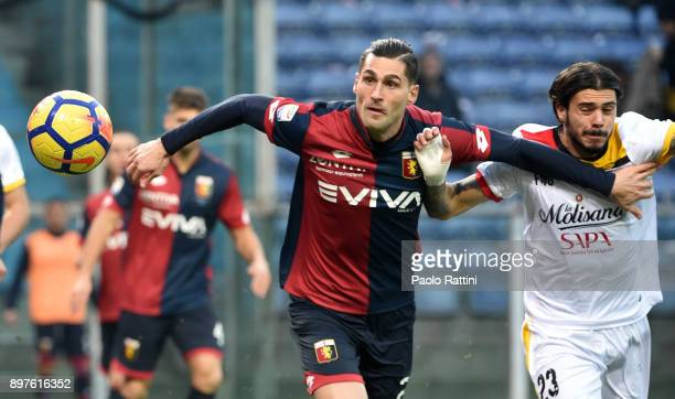 Aleandro Rosi and Lorenzo Venuti during the serie A match between Genoa CFC and Benevento Calcio at Stadio Luigi Ferraris on December 23 2017 in...