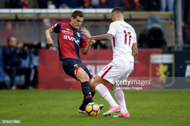 Aleandro Rosi of Genua Aleksandar Kolarov of AS Roma during the Italian Serie A match between Genoa v AS Roma at the Stadio Luigi Ferraris on...