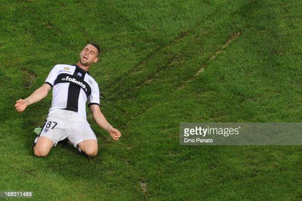 Aleandro Rosi of Parma celebrates after scoring his opening goal during the Serie A match between Cagliari Calcio and Parma FC at Stadio Sant'Elia on...