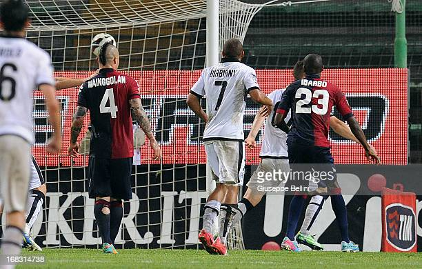 Aleandro Rosi of Parma scores the opening goal during the Serie A match between Cagliari Calcio and Parma FC at Stadio Sant'Elia on May 8 2013 in...