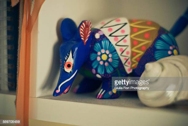 alebrije on a shelf - alebrije stock pictures, royalty-free photos & images