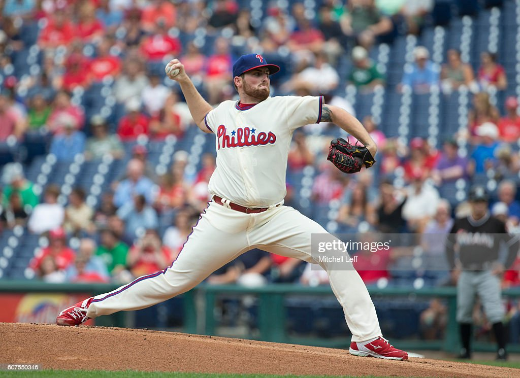 Alec Asher #49 of the Philadelphia Phillies throws a pitch in the top of the first inning against the Miami Marlins at Citizens Bank Park on September 18, 2016 in Philadelphia, Pennsylvania.