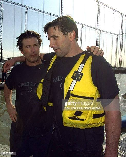 Alec Baldwin and brother Billy Baldwin after boat capsized at the Eddie Bauer Riverkeeper Kayak Challenge held at the Chelsea Piers