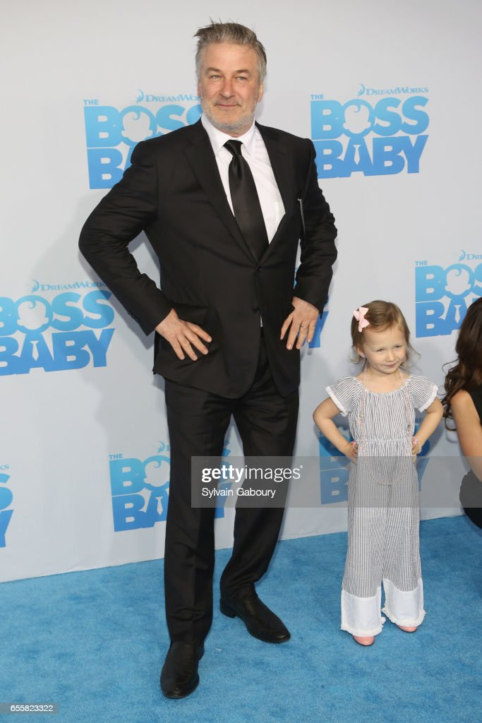 Alec Baldwin and Carmen Baldwin attend 'The Boss Baby' New York Premiere on March 20, 2017 in New York City.