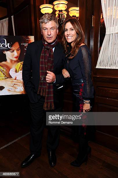 Alec Baldwin and Cristina Cuomo attend the Beach magazine celebration with cover star Hilaria Baldwin at Bobby Van's Grill on January 28 2014 in New...