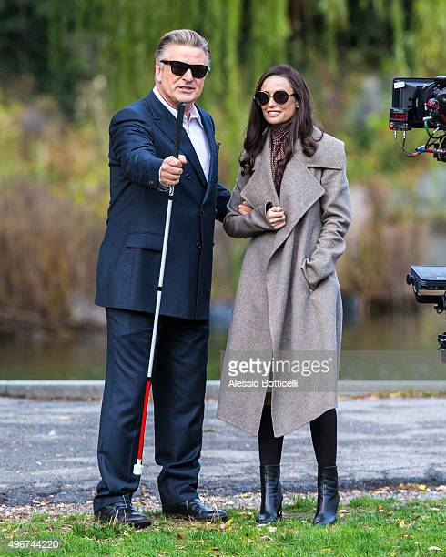Alec Baldwin and Demi Moore are seen filming 'Blind' at Morningside Park in Harlem on November 11 2015 in New York City