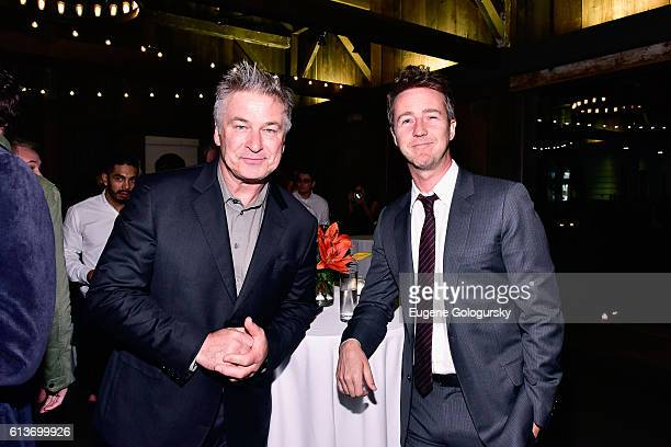 Alec Baldwin and Edward Norton attend the Awards Dinner at the Hamptons International Film Festival 2016 at Topping Rose on October 9 2016 in...