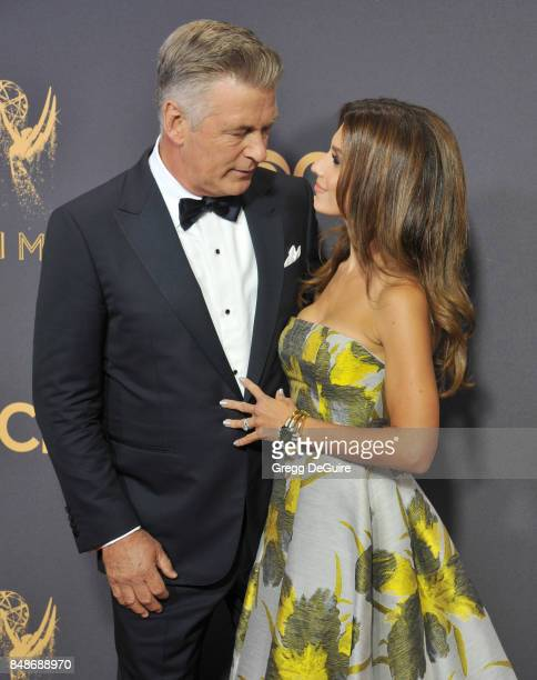 Alec Baldwin and Hilaria Baldwin arrive at the 69th Annual Primetime Emmy Awards at Microsoft Theater on September 17 2017 in Los Angeles California