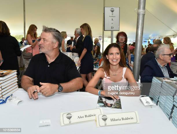 Alec Baldwin and Hilaria Baldwin attend Authors Night At East Hampton Library on August 11 2018 in East Hampton New York