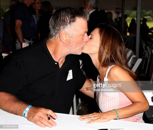 Alec Baldwin and Hilaria Baldwin attend the 14th Annual Author's Night to benefit the East Hampton Library on August 11 2018 in East Hampton New York