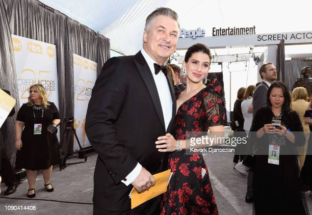 Alec Baldwin and Hilaria Baldwin attend the 25th Annual Screen Actors Guild Awards at The Shrine Auditorium on January 27 2019 in Los Angeles...