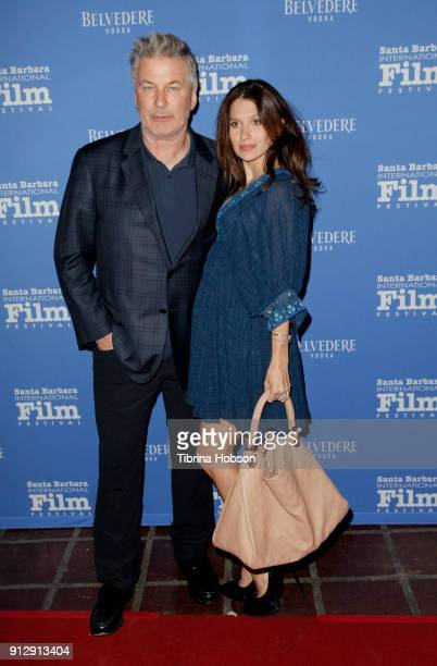 Alec Baldwin and Hilaria Baldwin attend the 33rd annual Santa Barbara International Film Festival opening night premiere of 'The Public' at Arlington...
