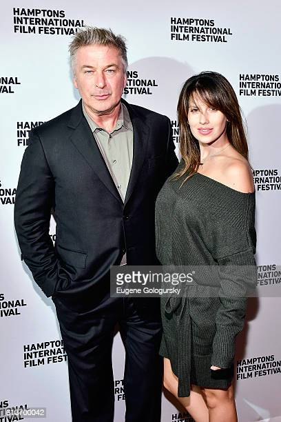 Alec Baldwin and Hilaria Baldwin attend the Awards Dinner at the Hamptons International Film Festival 2016 at Topping Rose on October 9 2016 in...