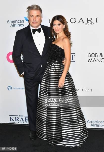 Alec Baldwin and Hilaria Baldwin attends the Elton John AIDS Foundation 25th Year And Honors Founder Sir Elton John During New York Fall Gala at...