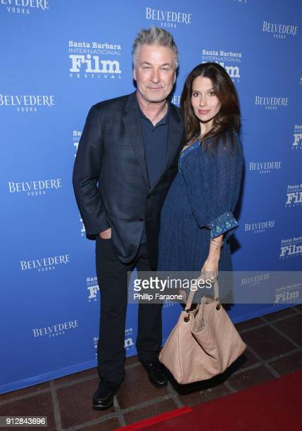 Alec Baldwin and Hilaria Baldwin celebrate with Belvedere Vodka at Santa Barbara Film Festival's Opening Night at Arlington Theatre on January 31...