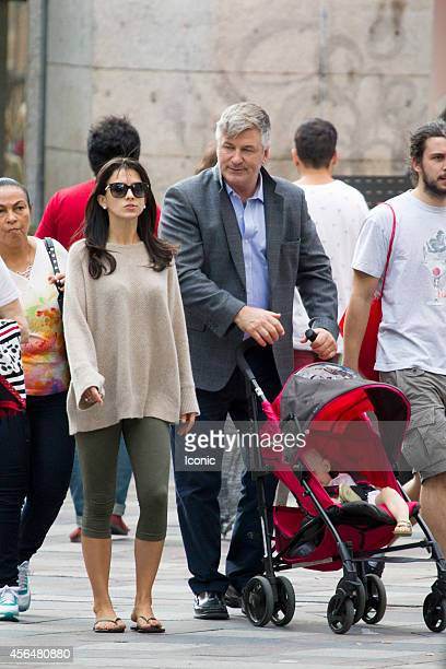 Alec Baldwin and Hilaria Baldwin sighting sharing a stroll with daughter Carmen on October 1, 2014 in Madrid, Spain.