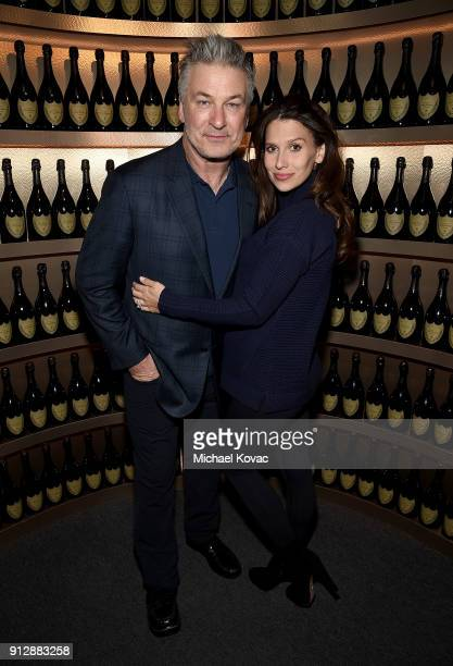 Alec Baldwin and Hilaria Baldwin visit the Dom Perignon Lounge at The Santa Barbara International Film Festival at Arlington Theatre on January 31...