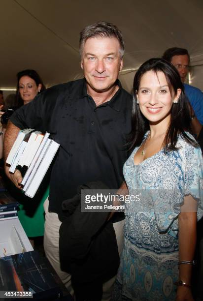 Alec Baldwin and Hilaria Thomas attend East Hampton Library's Authors Night 2014 on August 9 2014 in East Hampton New York