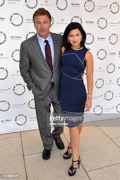 Alec Baldwin and Hilaria Thomas attend the 2012 New York Philharmonic Spring gala at Avery Fisher Hall Grand Promenade on March 26 2012 in New York...