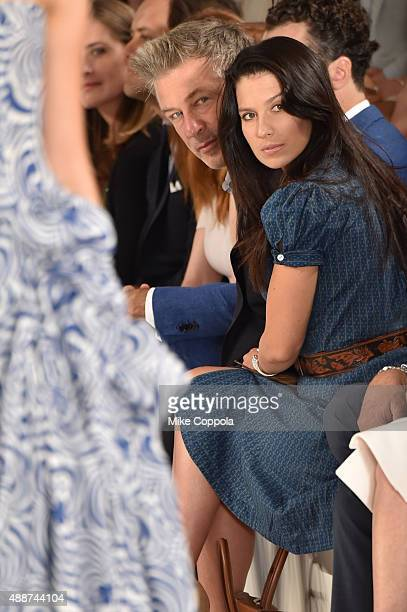 Alec Baldwin and Hilaria Thomas Baldwin attend Ralph Lauren Spring 2016 during New York Fashion Week The Shows at Skylight Clarkson Sq on September...