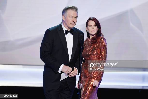 Alec Baldwin and Megan Mullally speak onstage during the 25th Annual Screen ActorsGuild Awards at The Shrine Auditorium on January 27 2019 in Los...