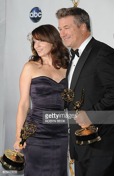 "Alec Baldwin and Tina Fey pose with their Emmys for outstanding lead actress and actor in a comedy series for ""30 Rock"", in the press room at the..."