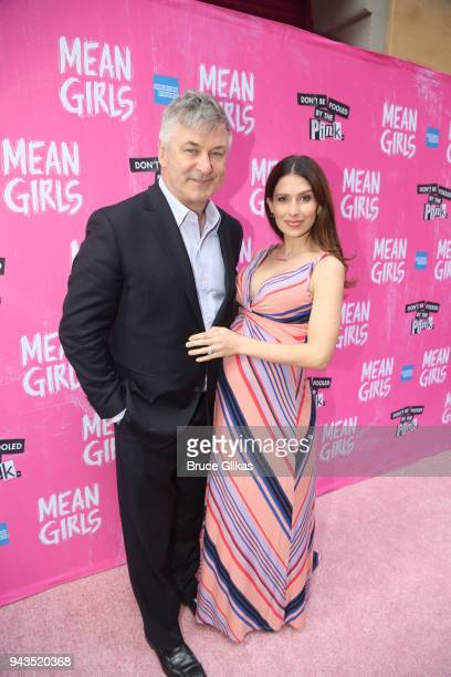 Alec Baldwin and wife Hilaria Baldwin pose at the arrivals for the openng night of the new musical based on the cult film 'Mean Girls' on Broadway at...