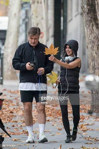 Alec Baldwin and wife Hilaria Baldwin went jogging together on December 14 2015 in Madrid Spain