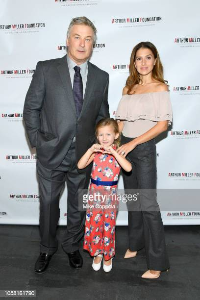 Alec Baldwin Carmen Gabriela Baldwin and Hilaria Baldwin attend the 2018 Arthur Miller Foundation Honors at City Winery on October 22 2018 in New...