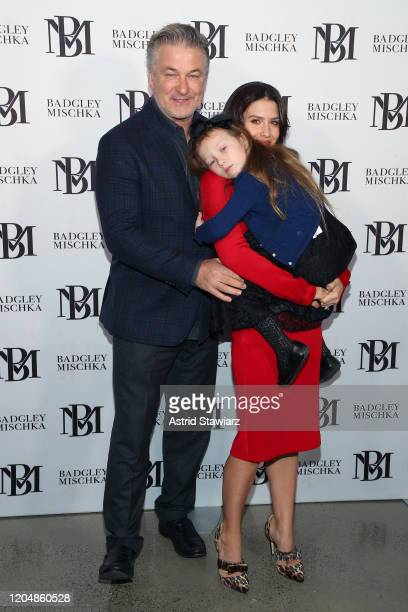 Alec Baldwin, Carmen Gabriela Baldwin and Hilaria Baldwin attend the Badgley Mischka front row during New York Fashion Week: The Shows at Gallery I...