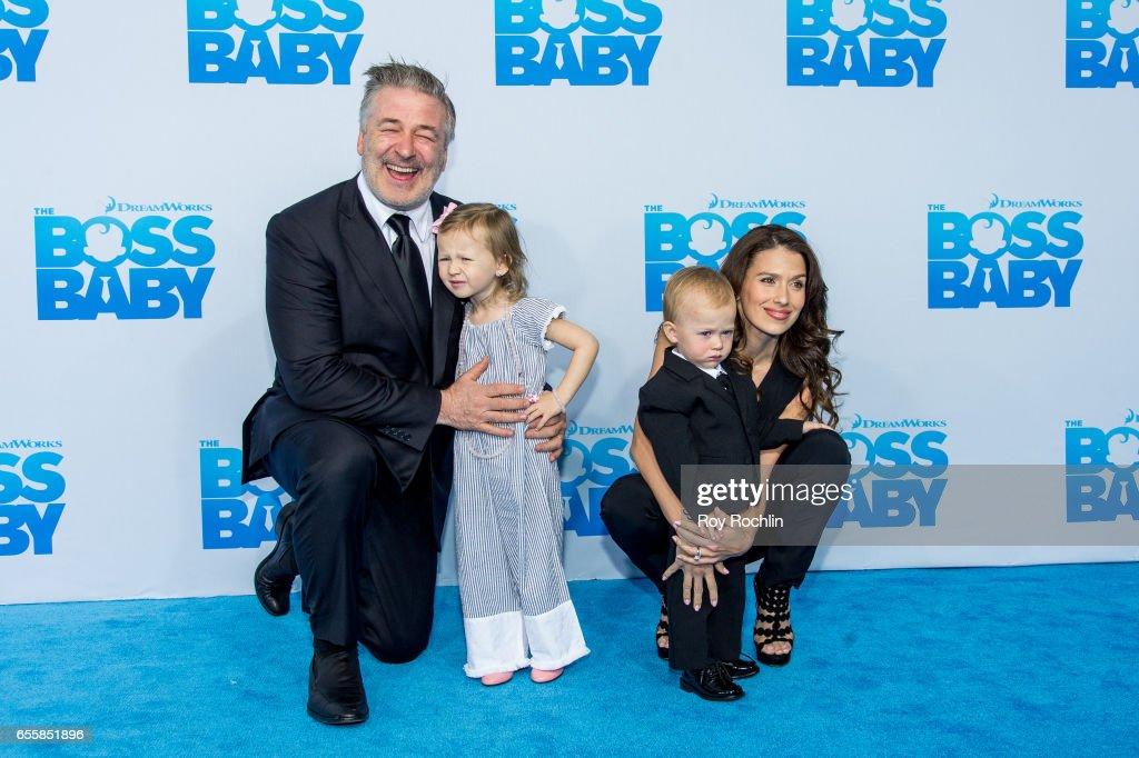 Alec Baldwin, Carmen Gabriela Baldwin, Rafael Thomas Baldwinand Hilaria Baldwin attend 'The Boss Baby' New York Premiere at AMC Loews Lincoln Square 13 theater on March 20, 2017 in New York City.