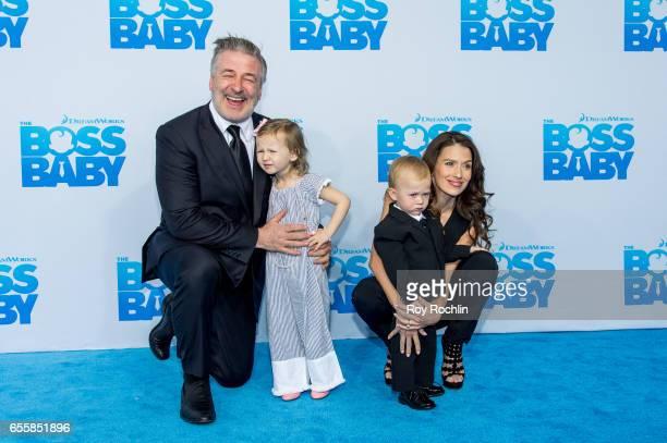 Alec Baldwin Carmen Gabriela Baldwin Rafael Thomas Baldwinand Hilaria Baldwin attend 'The Boss Baby' New York Premiere at AMC Loews Lincoln Square 13...