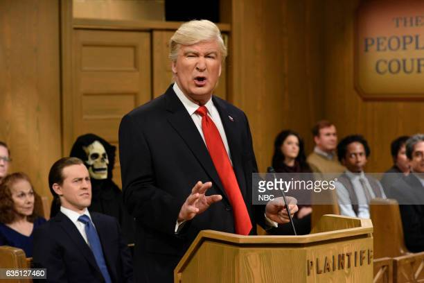 LIVE Alec Baldwin Episode 1718 Pictured Alec Baldwin as President Donald Trump during the Trump People's Court sketch on February 11 2017