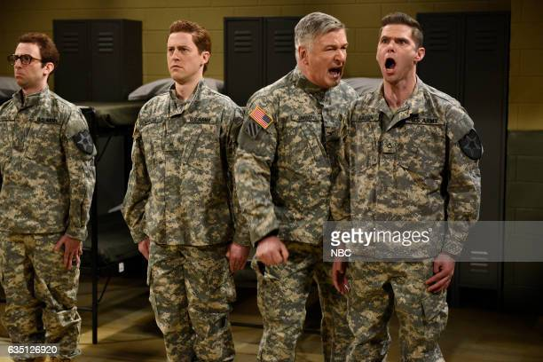 LIVE Alec Baldwin Episode 1718 Pictured Kyle Mooney Alex Moffat host Alec Baldwin and Mikey Day during the Drill Sergeant sketch on February 11 2017