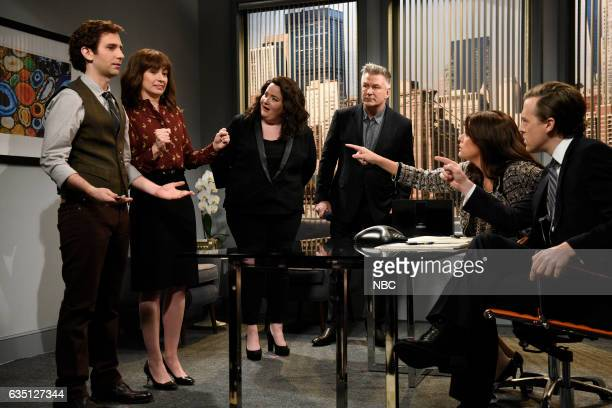 LIVE 'Alec Baldwin' Episode 1718 Pictured Kyle Mooney Melissa Villaseñor Aidy Bryant host Alec Baldwin Cecily Strong and Alex Moffat during the...