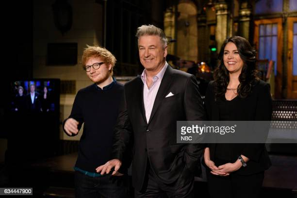 LIVE 'Alec Baldwin' Episode 1718 Pictured Musical guest Ed Sheeran poses with host Alec Baldwin and Cecily Strong in Studio 8H on February 9 2017