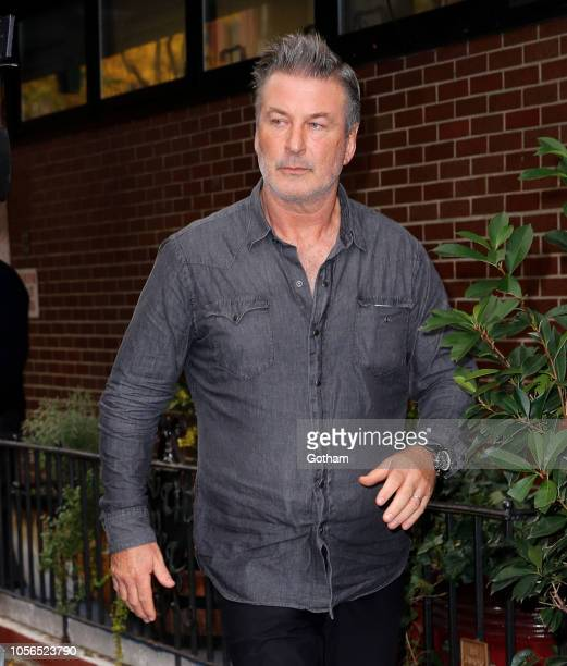 Alec Baldwin exits the 6th Precinct and returns to his home after being arrested for allegedly punching a man over a parking dispute on East 10th ST...