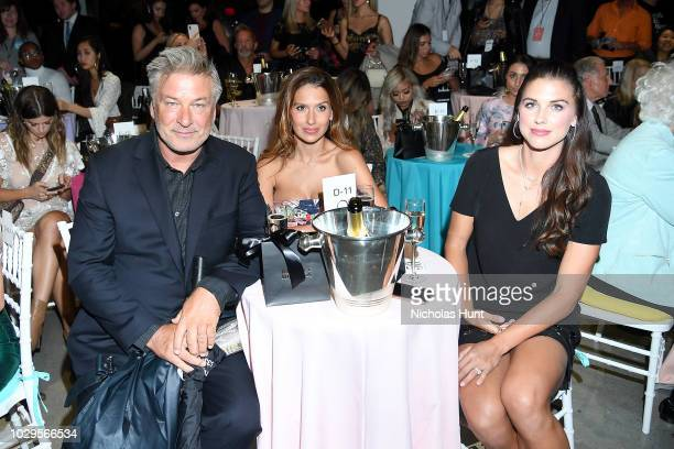 Alec Baldwin Hilaria Baldwin and Alex Morgan attend the Badgley Mischka Spring 2019 Runway Show during New York Fashion at Gallery I at Spring...