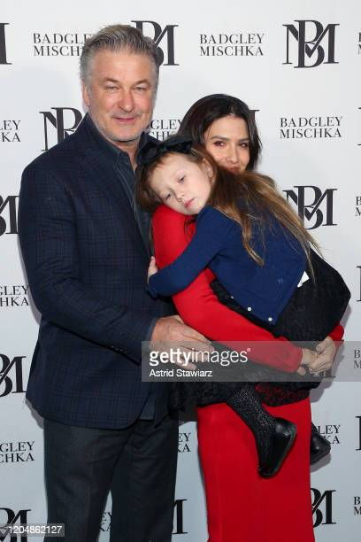 Alec Baldwin Hilaria Baldwin and Carmen Baldwin pose backstage at the Badgley Mischka show during New York Fashion Week The Shows at Gallery I at...