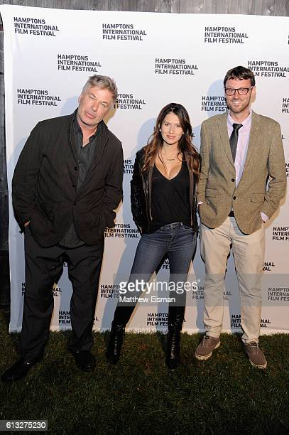 Alec Baldwin Hilaria Baldwin and David Nugent attend the Filmmaker Party during the Hamptons International Film Festival 2016 at Mulford Farms on...